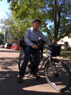 89 year old Firestone Park resident, James Pint, on his new bike.