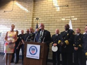 Akron Mayor Dan Horrigan, city officials at Fire Station #2