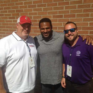 Sam Bourquin,  Hall of Famer Jerome Bettis, and Brad Russelll