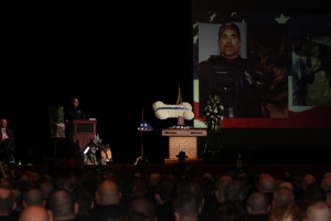 Hundreds attended a funeral service for Canton Police K9 Jethro after he was shot and killed while responding to a burglary.