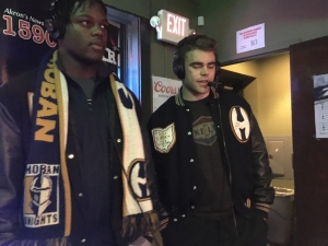 Daeshon Martin (left) and Reid Allen (right) speaking about the 2017 state championship season at Hoban