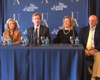 University of Akron President, Matthew Wilson (Center) with members of the Hower family.