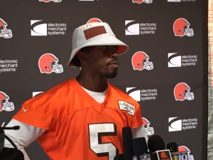 Tyrod Taylor speaking with the media at Training Camp in Berea