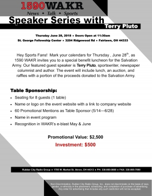 Speaker Series with Terry Pluto