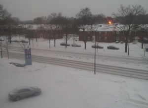 Snow in February 2015, West Market Street, Akron, OH