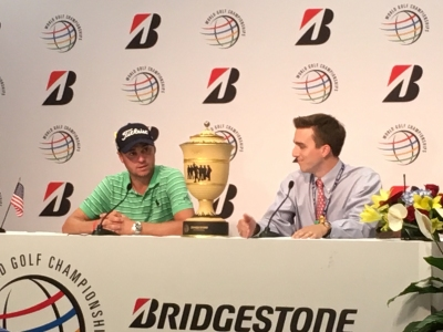 Justin Thomas (left) in the media center