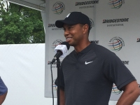 Tiger Woods speaking at the Bridgestone Invitational earlier this month