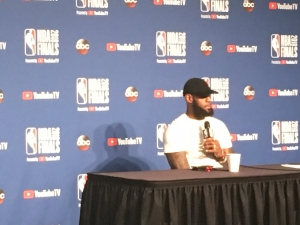 LeBron James addressing the media after the NBA Finals in 2018